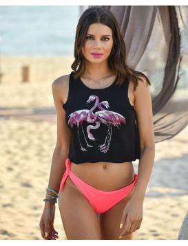 Flamingo Crop Top Μαύρο