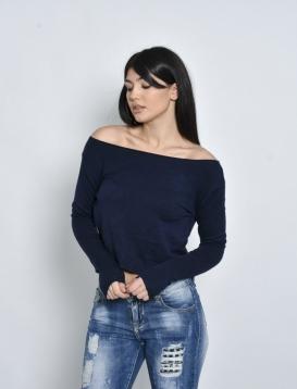 Μπλούζα Μπλε Κοντή Μακρυμάνικη