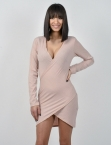 Φόρεμα Κρουαζέ Ροζ Με Σκίσιμο