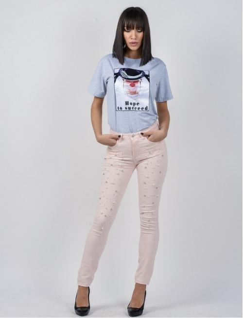 Παντελόνι Ελαστικό Με Πέρλες Ροζ