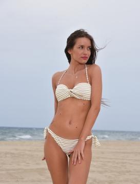 Bikini Λευκό Με Χρυσή Ρίγα