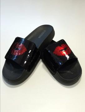 Sequin Reversible Slides Μαύρη