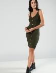 Φόρεμα Ριπ Με Κουμπιά Πράσινο
