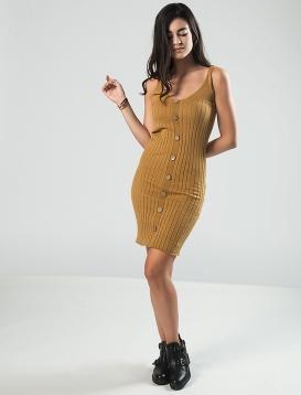 Φόρεμα Ριπ Με Κουμπιά Μουσταρδί