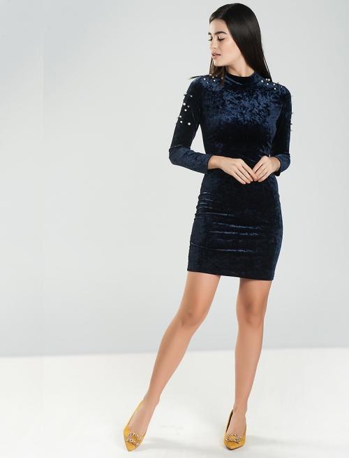 Βελούδινο Φόρεμα Με Πέρλες Μπλε
