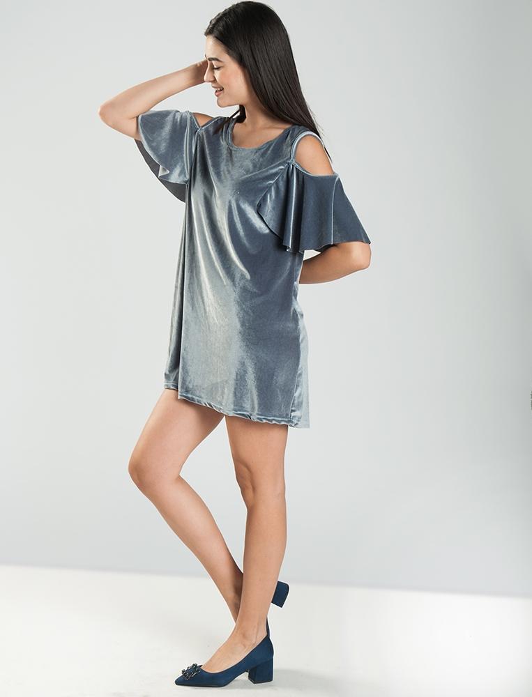 fbd404375841 Γυναικείο Βελούδινο Off shoulder Φόρεμα -YourFashion.gr