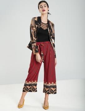 Ριγέ Παντελόνι Με Σχέδια Κόκκινο