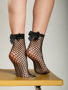 Bow Net Socks Black
