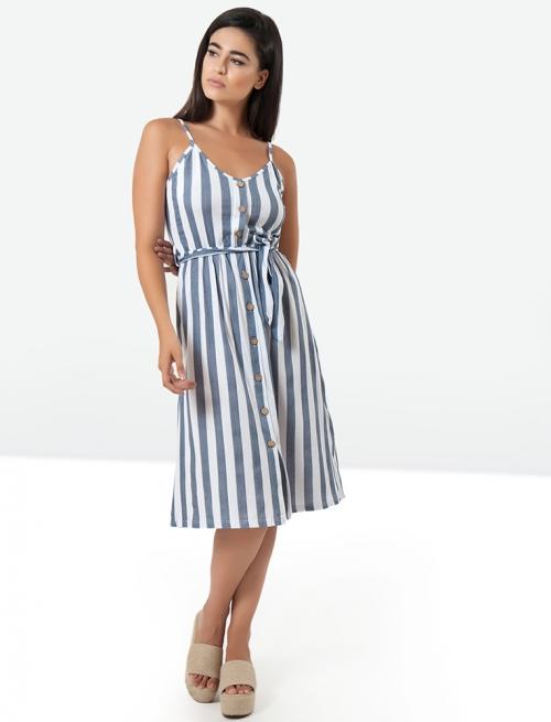 Φόρεμα Ριγέ Κουμπί Μπλε