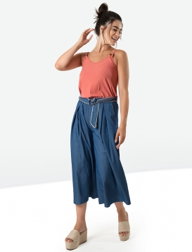 Denim zip culotte