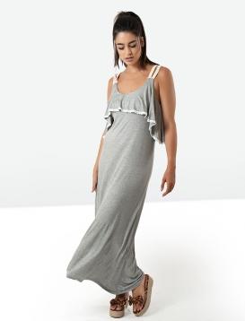 Φόρεμα Μακρύ Γκρι Με Βολάν