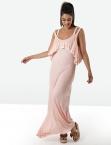 Φόρεμα Μακρύ Ροζ Με Βολάν