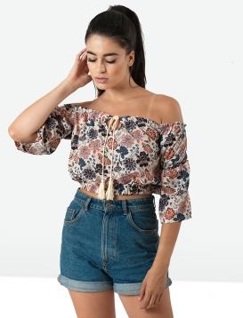 Μπλούζα εμπριμέ cropped off-shoulder