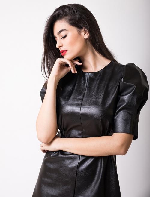 Φόρεμα Δερματίνι Φουσκωτό Μανίκι