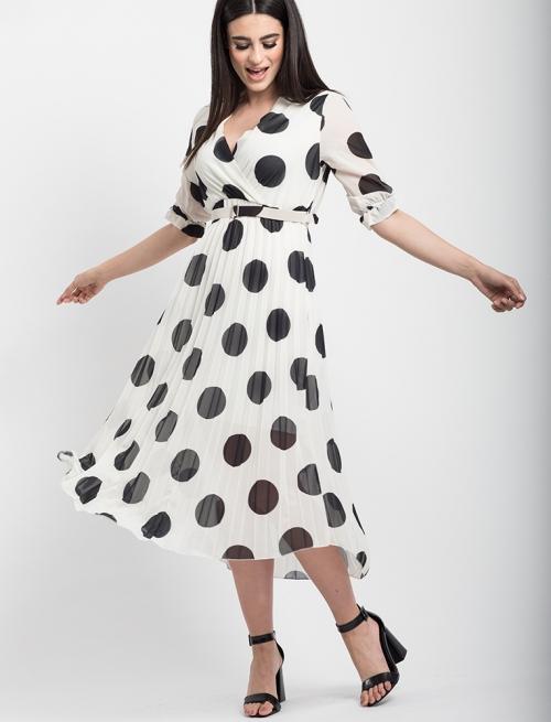 Φόρεμα Πουά Πλισέ Άσπρο