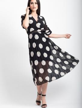 Φορεμα Πουά Πλισέ Μαύρο