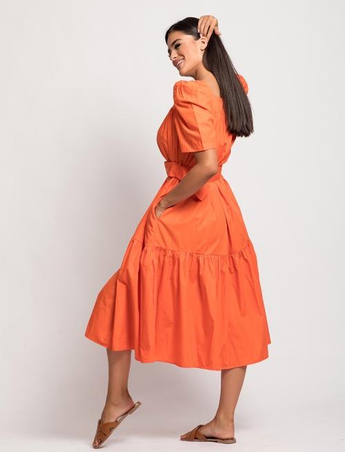 Φόρεμα Φουσκωτό Μανίκι Πορτοκαλί