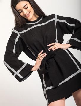 Πλεκτό Φόρεμα Με Ρίγες Μαύρο