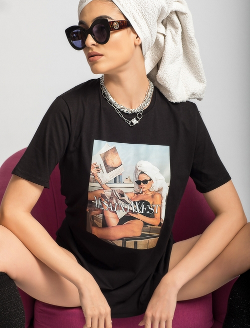 T - Shirt Lady West Μαύρο